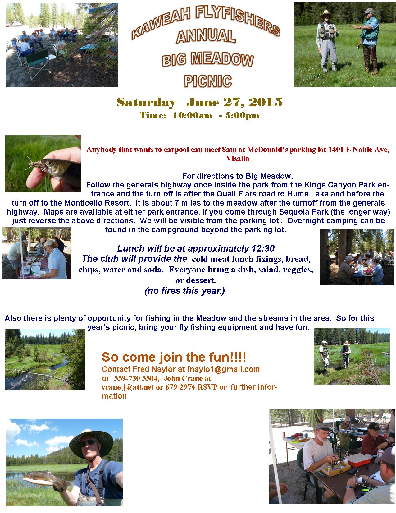 2015 picnic flyer kaweah fly fishers for Fly fishing classes near me